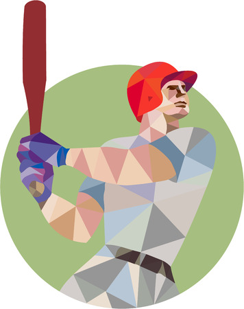 hitter: Low polygon style illustration of an american baseball player batter hitter holding bat batting viewed from the side set inside circle on isolated background.