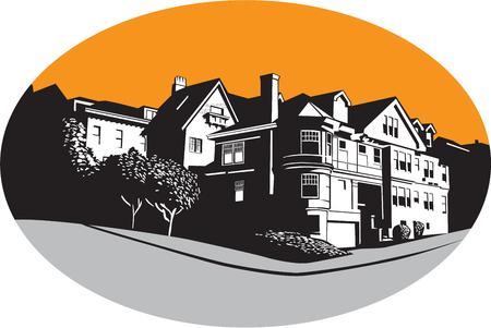 복고 스타일을 이루어 타원형 안에 설정 나무와 잔디와 거리 모퉁이에 미국의 저택 주거 집의 WPA 스타일의 그림입니다.