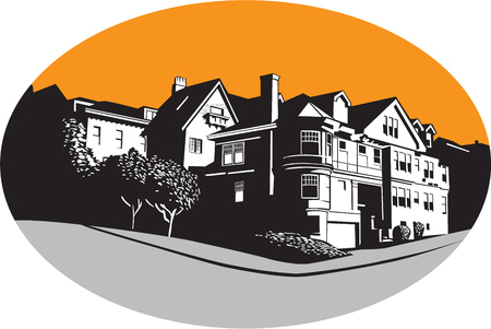 WPA style illustration of an American mansion residential house on a street corner with trees and grass set inside oval shape done in retro style.
