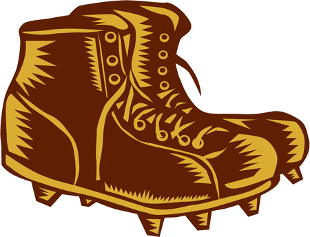 boot print: Illustration of a vintage style football rugby boots viewed from side set on isolated white background done in retro woodcut style.