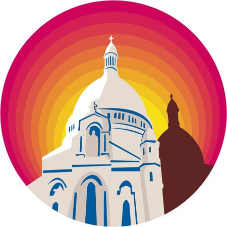 WPA style illustration of a Catholic church dome cathedral set inside circle  done in retro style.