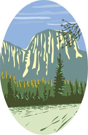 WPA style illustration of El Capitan a granite monolith and vertical rock formation in Yosemite National Park, located on the north side of Yosemite Valley, near its western end set inside oval shape done in retro style.