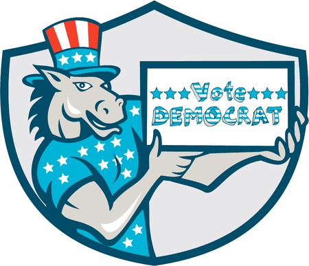 gop: Illustration of a democrat donkey mascot of the democratic grand old party gop wearing American stars and stripes flag shirt and hat presenting holding Vote Democrat sign done in cartoon style set inside shield crest.