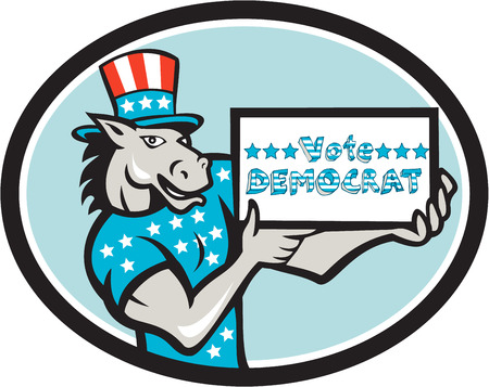 gop: Illustration of a democrat donkey mascot of the democratic grand old party gop wearing American stars and stripes flag shirt and hat presenting holding Vote Democrat sign done in cartoon style set inside oval shape.