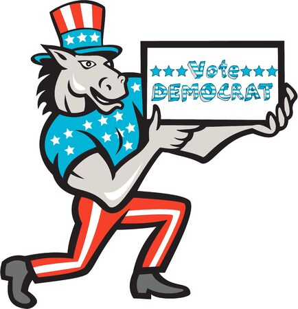 Illustration of a democrat donkey mascot of the democratic grand old party gop wearing American stars and stripes flag clothes and hat presenting holding Vote Democrat sign done in cartoon style.
