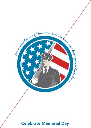 serviceman: Memorial Day greeting card featuring an illustration of an American soldier serviceman holding rifle facing side set inside circle with stars and stripes in the background done in retro style and the words In Remembrance of the men and women who have give Stock Photo
