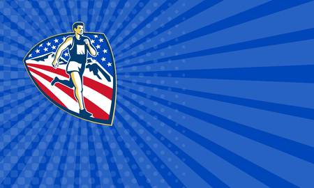 crosscountry: Business card showing illustration of an American marathon triathlete runner running set inside shield with mountains and stars and stripes done in retro style.