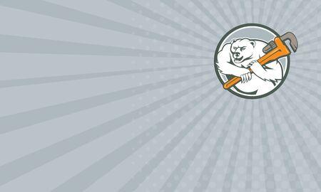 monkey wrench: Business card showing Cartoon style illustration of a polar bear plumber holding monkey wrench on shoulder set inside circle on isolated background.