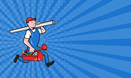 tradesman: Business card showing illustration of a plumber carrying pipe and toolbox running done in cartoon style on isolated background. Stock Photo