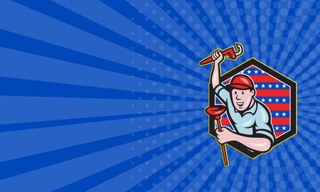 monkey wrench: Business card showing illustration of a plumber with monkey wrench done in cartoon style set inside hexagon with stars and stripes on isolated background