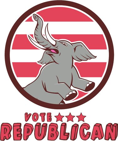 republican party: Illustration of a republican elephant mascot of the republican party prancing looking up to the side set inside circle with red stripes in the background done in cartoon style with words Vote Republican.