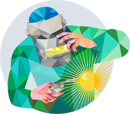 Low Polygon style illustration of welder worker with mask holding welding torch welding viewed from front set inside circle on isolated background. Ilustracja