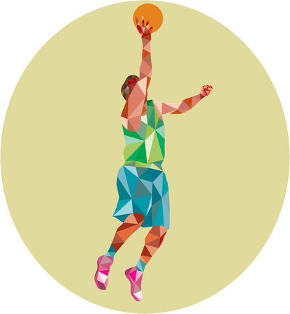 rebound: Low polygon style illustration of a basketball player lay up rebounding ball set inside circle. Illustration