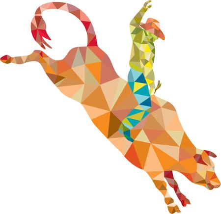 toro: Ilustración de estilo poligonal baja de un vaquero de rodeo que monta tronzado toro visto desde el conjunto de lado en el fondo blanco aislado.