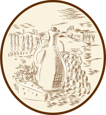tuscan: Etching engraving handmade style illustration of an olive oil jar with cheese and grape bunch set against a Tuscan countryside inside circle shape.