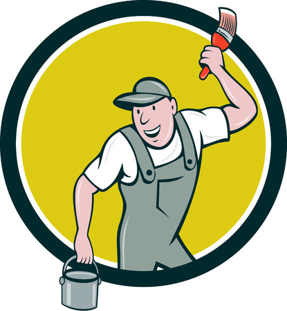 painter cartoon: Illustration of a house painter wearing hat holding paintbrush and can bucket of paint looking to the side smiling set inside circle on isolated background done in cartoon style. Illustration