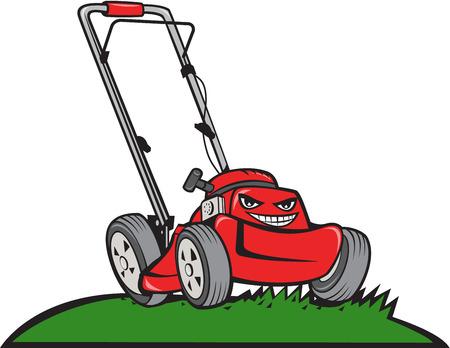 Illustratie van een grasmaaier op het gras van voren gezien set op witte achtergrond gedaan in cartoon stijl.