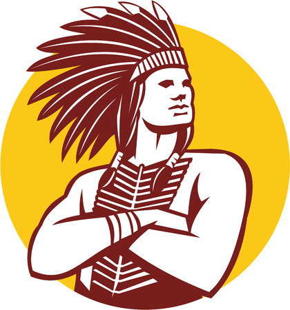 indian headdress: Illustration of a native american indian chief wearing feather headdress with arms folded looking to the side viewed from front done in retro style set inside circle on isolated background.