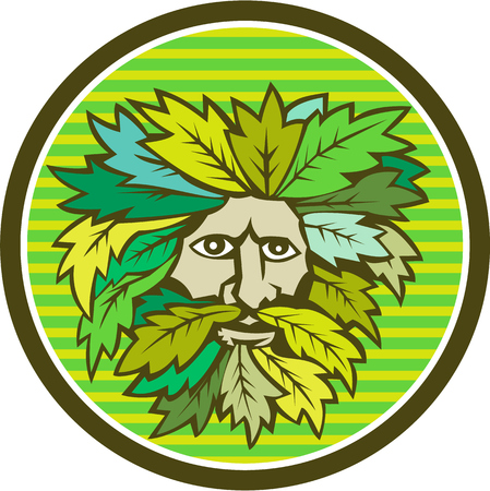 foliate: Illustration of a Green Man foliate head with face with flowing hair and leaves growing at tips viewed from front done in retro style.