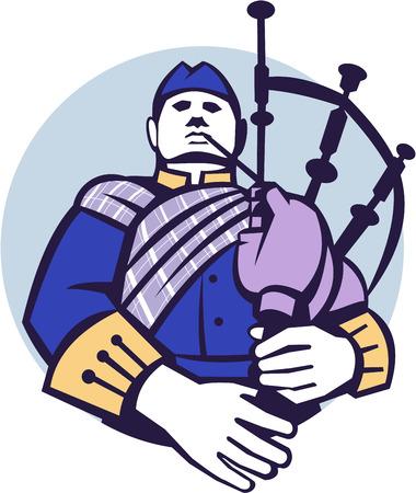 gaita: Ilustración de un jugador Gaitero escocés que toca las gaitas visto de frente fijó el círculo interior en el fondo aislado hecho en estilo retro.