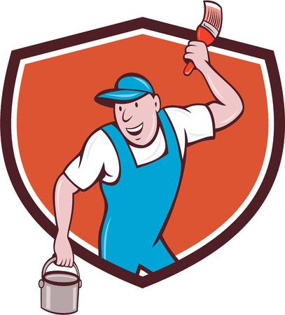pintor de casas: Ilustración de un pintor de la casa con el sombrero de la celebración de pincel y puede cubo de pintura mira a la cara sonriente situada en el interior cresta escudo en el fondo aislado hecho en estilo de dibujos animados.