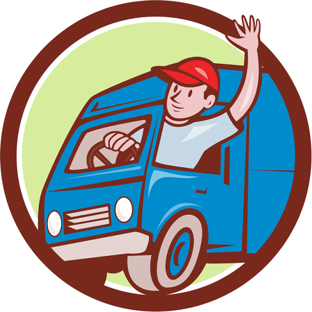 delivery man: Illustration of a delivery man wearing hat waving driving delivery van truck set inside circle on isolated background done in cartoon style.