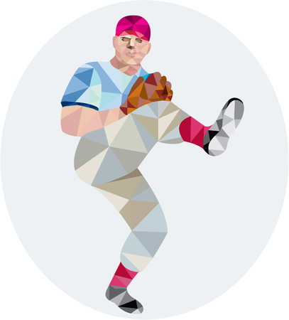 outfielder: Low polygon style illustration of an american baseball player pitcher outfilelder with leg up getting ready to throw ball set on isolated white background.