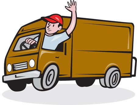 漫画のスタイルで行われる分離の背景に円の中に設定運転配送バン トラックを振って帽子をかぶって配達人のイラスト。