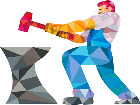 sledgehammer: Low polygon style illustration of a blacksmith worker with sledgehammer striking at anvil viewed from side set on isolated white background