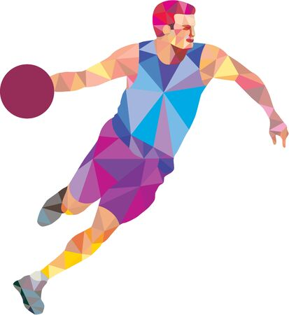 dribbling: Low polygon style illustration of a basketball player dribbling ball looking to the side viewed from front on isolated white background. Illustration