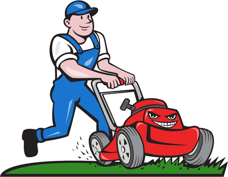 mower: Illustration of a gardener wearing hat and overalls with lawnmower mowing lawn viewed from front set on isolated white background done in cartoon style.