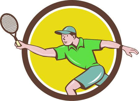 forehand: Illustration of a tennis player holding racquet playing tennis doing a forehand shot viewed from the side set inside circle done in cartoon style.