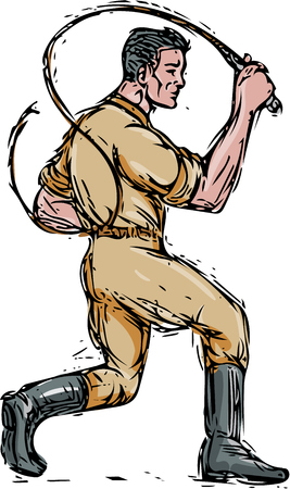 whip: Drawing sketch style illustration of a lion tamer holding bullwhip viewed from the side set on isolated white background. Illustration