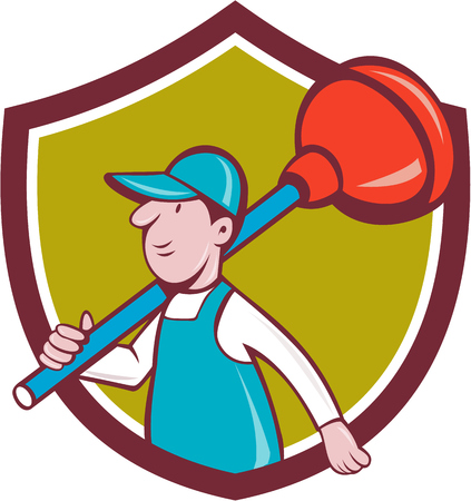 plunger: Illustration of a plumber carrying plunger on shoulder walking viewed from the side set