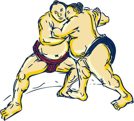 wrestle: Drawing sketch style illustration of a Japanese sumo wrestlers wrestling facing front set on isolated white background.