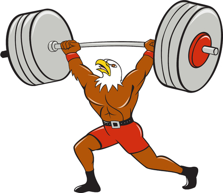 lifter: Cartoon style illustration of a bald eagle weightlifter lifting barbell looking up to the side set on isolated white background.
