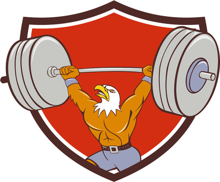 weightlifter: Cartoon style illustration of a bald eagle weightlifter lifting barbell looking up to the side set inside shield crest on isolated background.
