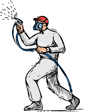 paint gun: Drawing sketch style illustration of spray painter holding spray gun painting viewed from the side set on isolated white background. Illustration