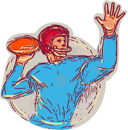 quarterback: Drawing sketch style illustration of an american football gridiron quarterback qb throwing ball viewed from the side set on isolated white background. Illustration