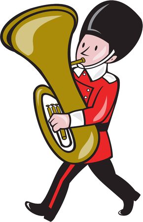 brass band: Illustration of a brass band member playing tuba set on isolated white background done in cartoon style. Illustration