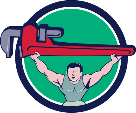 monkey wrench: Illustration of a plumber weightlifter lifting giant monkey wrench over head viewed from front set inside circle on isolated background done in cartoon style. Illustration
