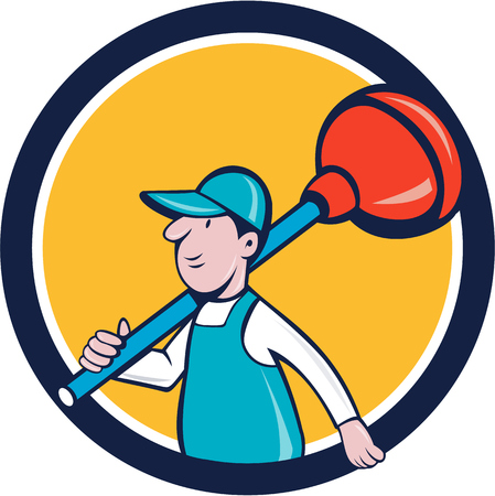 shoulder carrying: Illustration of a plumber carrying plunger on shoulder walking viewed from the side set inside circle done in cartoon style on isolated background done in cartoon style. Illustration