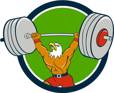 weightlifter: Cartoon style illustration of a bald eagle weightlifter lifting barbell looking up to the side set inside circle on isolated background.
