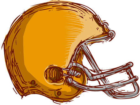 scratch board: Drawing sketch style illustration of an american football helmet viewed from the side done on isolated white background.