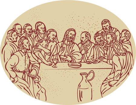 Drawing sketch style illustration of the last supper with Jesus and the apostles disciples set inside oval shape.