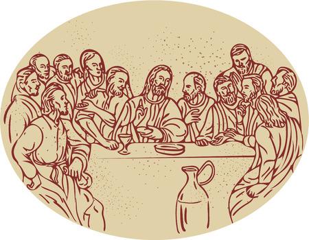 마지막 저녁 식사의 스케치 스타일 그림을 그리기 예수님과 사도 제자는 타원형 모양을 설정합니다.