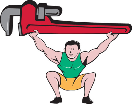 squat: Illustration of a plumber weightlifter in a squat position lifting giant monkey wrench over head viewed from front set on isolated white background done in cartoon style.