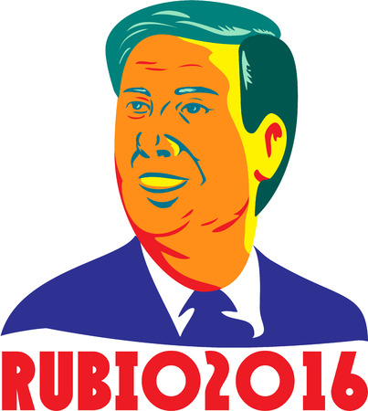 senator: Illustration showing the bust of Marco Rubio, an American senator, politician and Republican 2016 presidential candidate done in retro style with words Rubio 2016