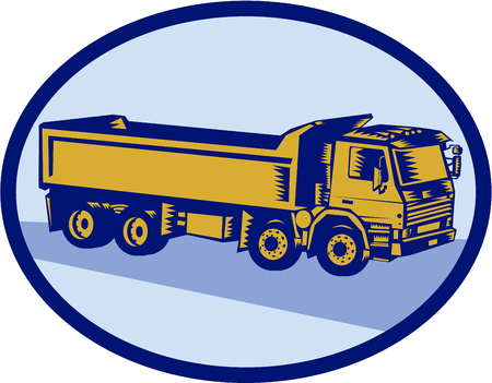 oval shape: Illustration of a dump truck viewed the side set inside oval shape done in retro woodcut style.
