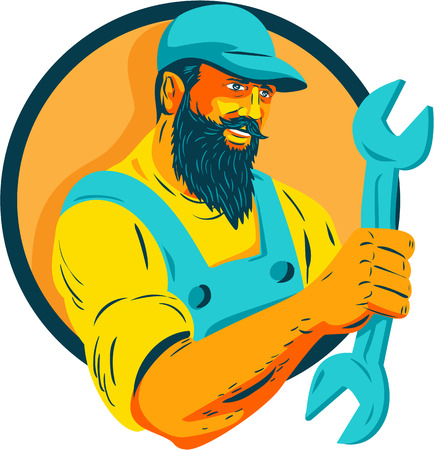 WPA style illustration of a bearded mechanic holding spanner looking to the side set inside circle on isolated background.